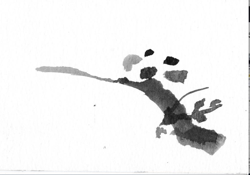 penseeltekening op papier, Oost-Indische inkt, 10 x 15 cm