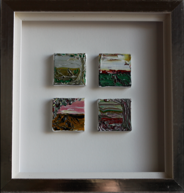 'Four landscapes', 4 miniatures, 5 x 5 cm, oil on canvas in white gold leaves frame, price on request/ olie op doek, 5 x 5 cm in wit bladgouden lijst (30 x 27,5 cm),