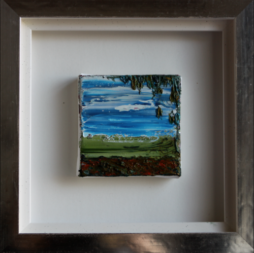 'Field with tree', oil on canvas, 10 x 10 cm in white gold leaves frame (25 x 25 cm), price on request/olie op doek, 10 x 10 cm in wit bladgouden lijst (25 x 25 cm),