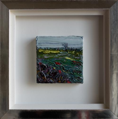 'river', oil on canvas, 10 x 10 cm in white gold leaves frame (25 x 25 cm) price on request/olie op doek, 10 x 10 cm in wit bladgouden lijst (25 x 25 cm) prijs op aanvraag