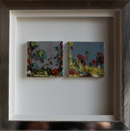 'Spring', 2 miniatures, 7 x 7 cm, oil on canvas in white gold leaves frame (25 x 25 cm), price on request/ olie op doek, 7 x 7cm in wit bladgouden lijst (25 x 25cm) prijs op