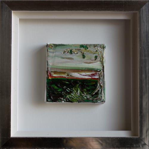 'Tree', oil on canvas, 10 x 10 cm in white gold leaves frame (25 x 25 cm), price on request/ olie op doek,1 0 x 10 cm in wit bladgouden lijst (25 x 25 cm) prijs op aanvraag