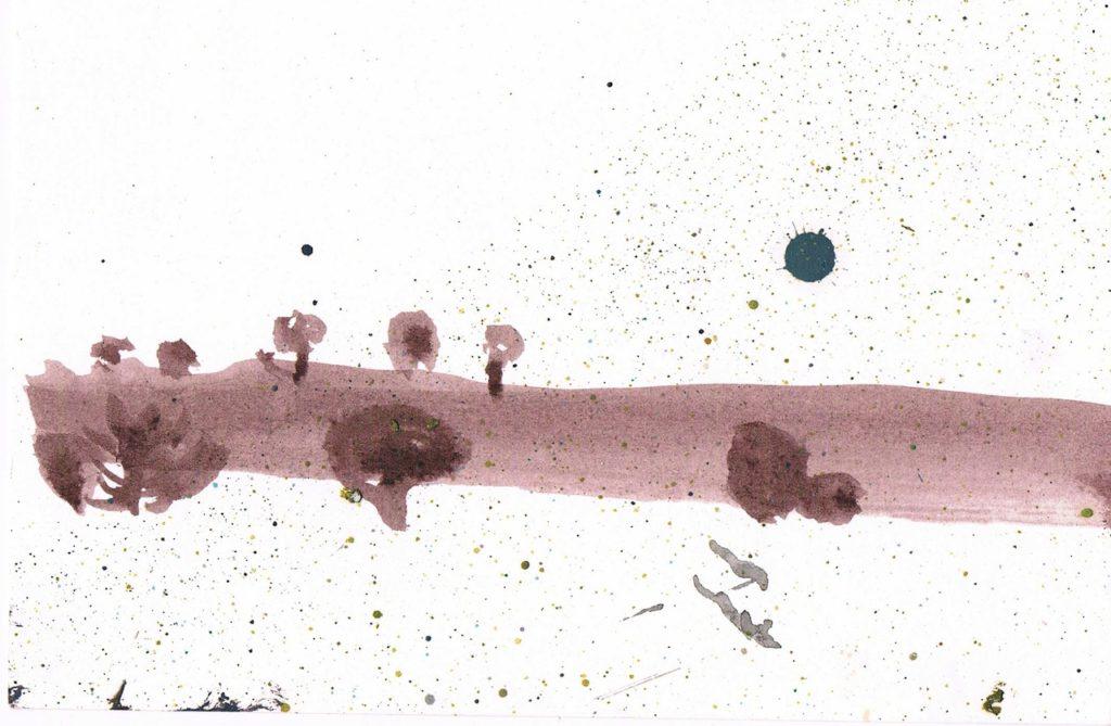 brush, ink, oil on paper, 12 x 18 cm