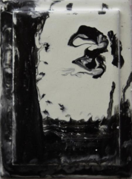 R7. 'Ergens en Iemand', encaustiek op hout, 11,5 x 8,5 cm, € 106,--